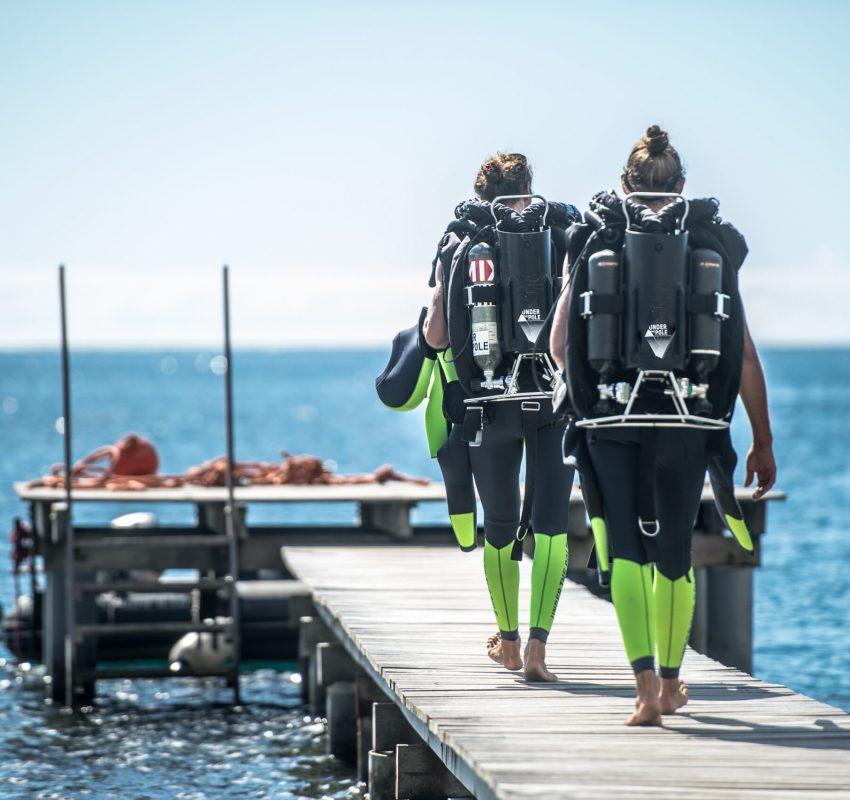 plongeurs UNDER THE POLE équipés avec les recycleurs